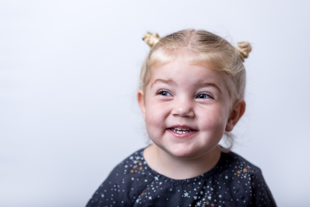 School Portrait of a 2 year old toddler girl.
